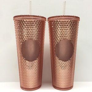 2 Starbucks Rose Gold Tumblers Pink Studded